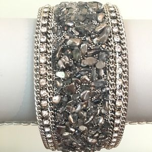 Jewelry - Gray Stone Encrusted Chip Bead Magnetic Bracelet